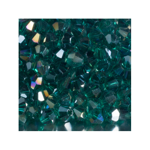 Crystal Bicone, 4mm Emerald AB (100)