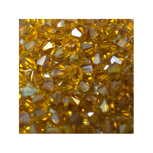 Crystal Bicone, 4mm Amber AB (100)