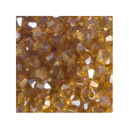 Crystal Bicone, 4mm Bright Amber AB (100)