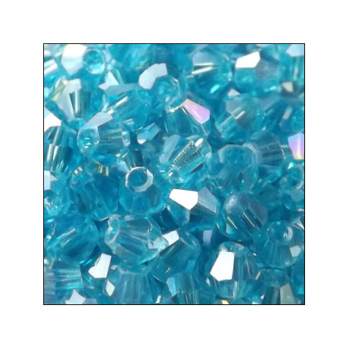 Crystal Bicone, 4mm Aquamarine AB (100)