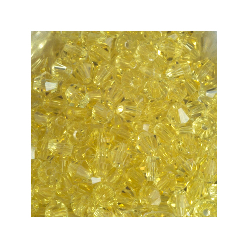 Crystal Bicone, 4mm Light Yellow (100)