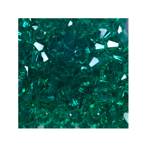 Crystal Bicone, 4mm Emerald Green (100)