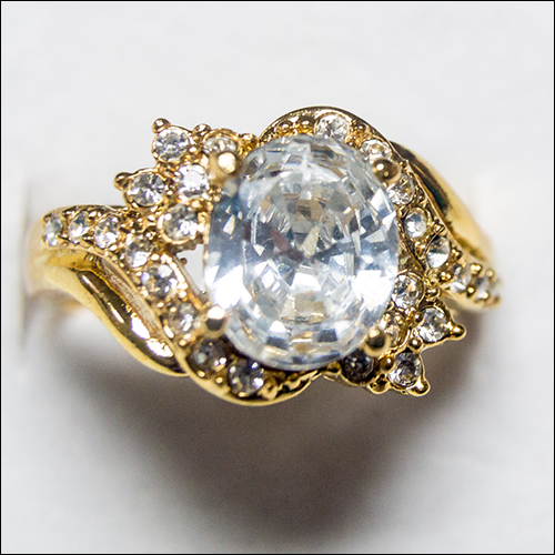 Oval CZ Crystal Yellow Gold Filled Ring, Size 9