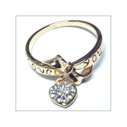 Love You Text with Heart Charm, Gold Ring, Size 7.5