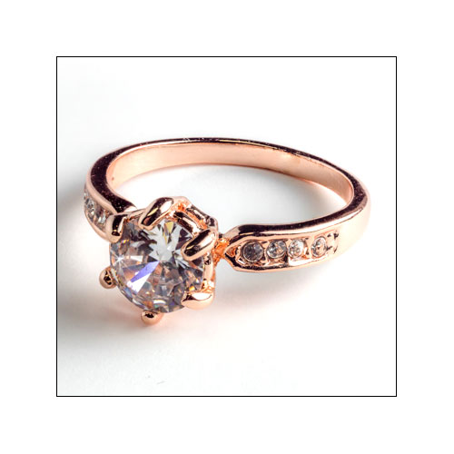 Cubic Zirconia & Austrian Crystals Rose Gold Plated Ring, Size 8