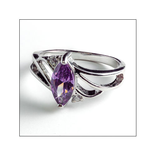 Princess Amethyst & Crystal, Silver Ring, Size 8