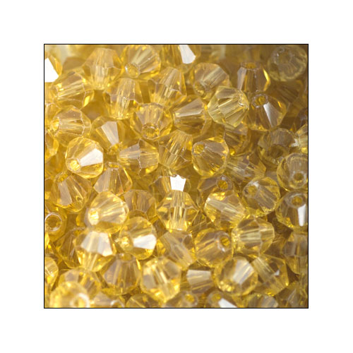 Crystal Bicone, 4mm Yellow Gold (100)