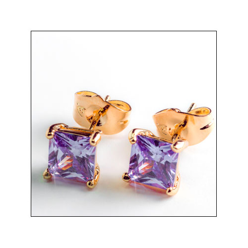 Light Purple Cubic Ziconia Gold Filled Square Stud Earrings