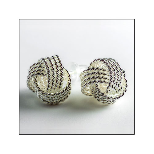 Silver Mesh Ball Stud Earrings