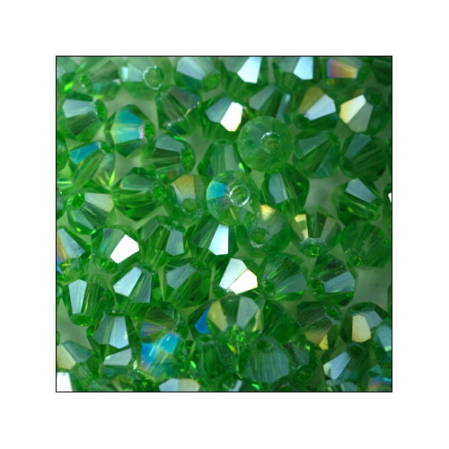 Crystal Bicone, 4mm Green-Yellow AB (100)