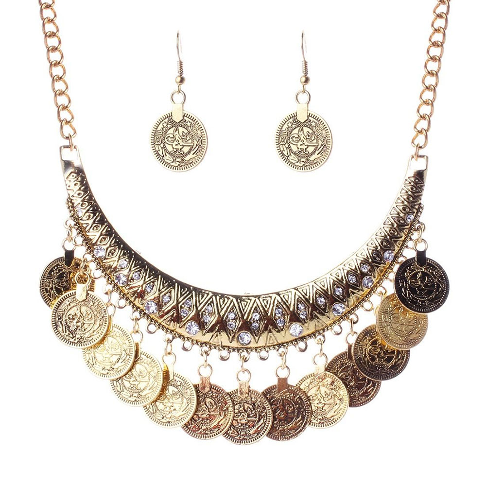 Cleopatra Coin Necklace, Gold