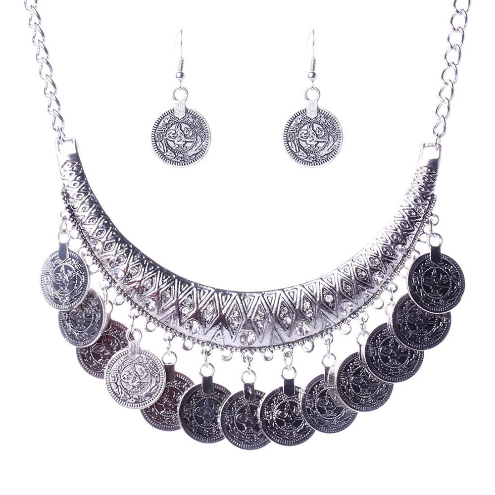 Cleopatra Coin Necklace, Silver