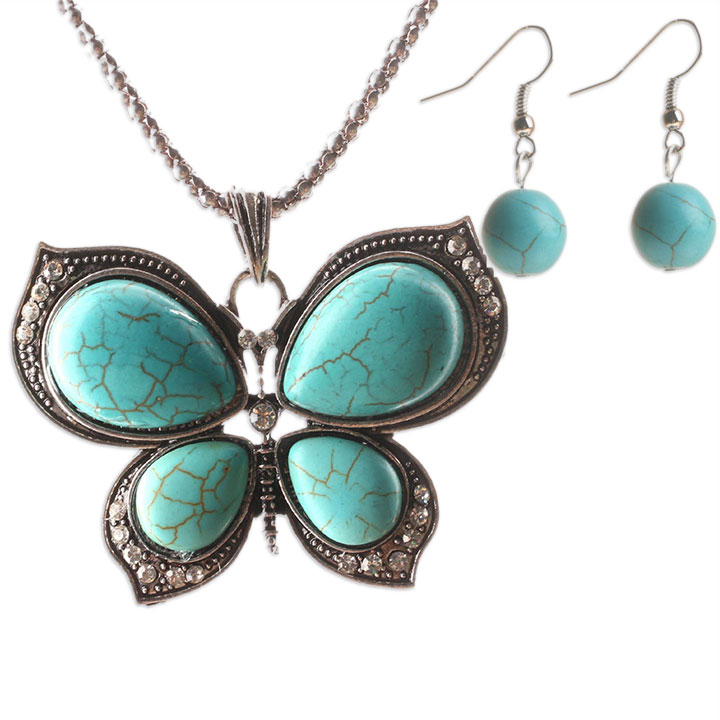 Antique Silver & Turquoise Earrings & Butterfly Necklace