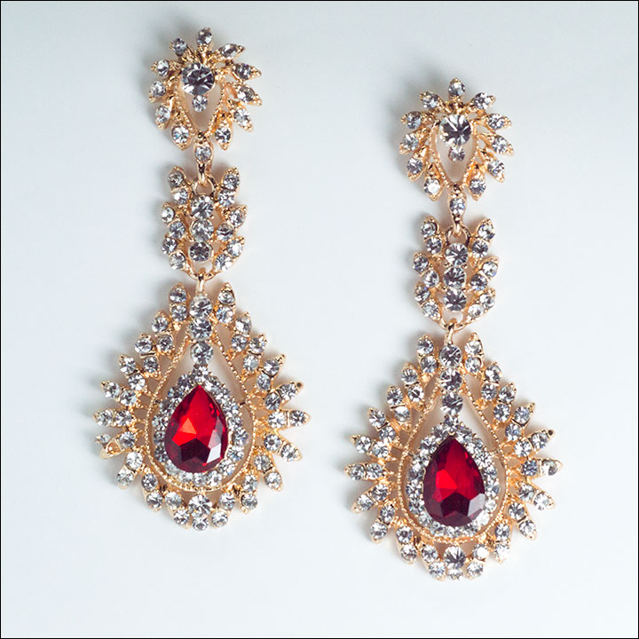 Red, Crystal, & Gold Dangle Earrings