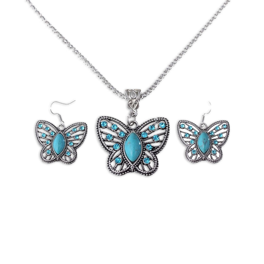 Lacey Turquoise Butterfly Necklace & Earrings