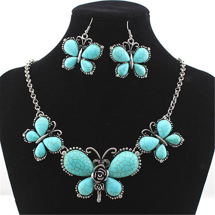 Chunky Antique Silver & Turquoise Butterfly Necklace & Earrings