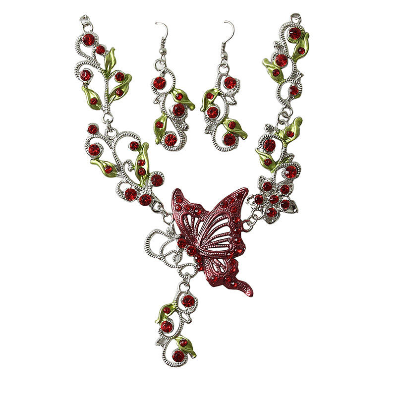 Delicate Butterfly & Rhinestones Necklace & Earrings, Red