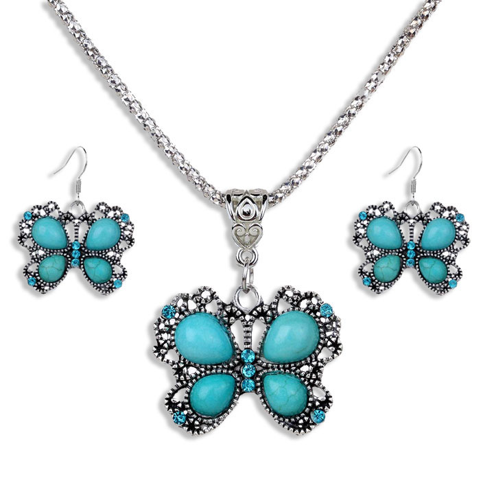 Silver, Turquoise & Rhinstones Butterfly Necklace & Earrings