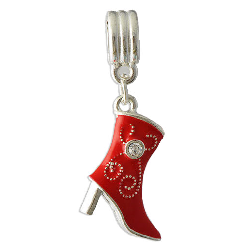 Silver & Red Enamel Boot Charm with Rhinestone