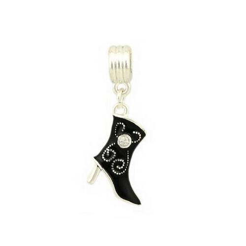 Silver & Black Enamel Boot Charm with Rhinestone