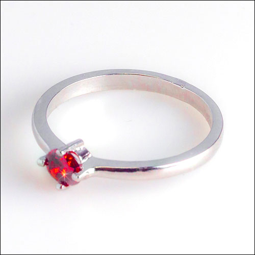 18K White Gold Filled 4.5mm Ruby Ring, Size 8