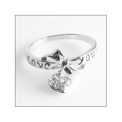 Love You Text with Heart Charm, Silver Ring, Size 9