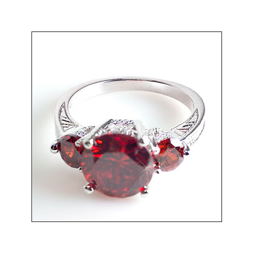 10k White Gold Ruby Garnet 3 Stone Ring