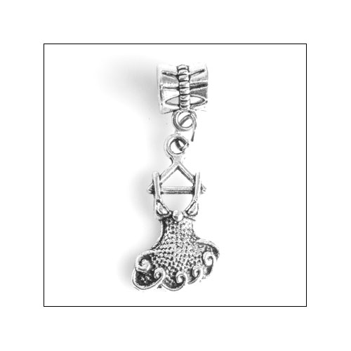 Frilly Dress on Hanger Silver Charm