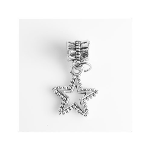 Star edges with beads Silver Charm