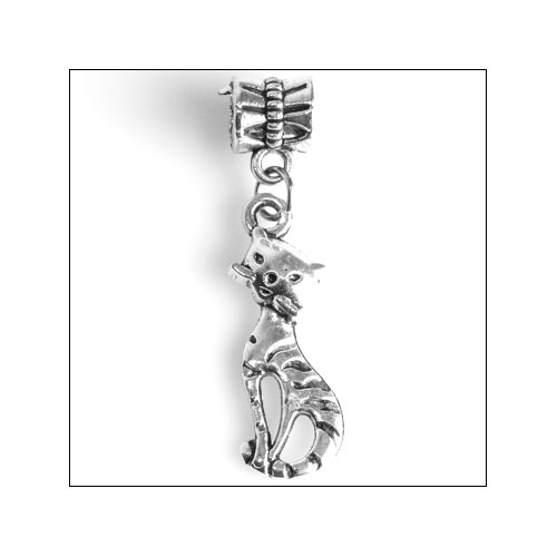 Cat with Wiskers Silver Charm