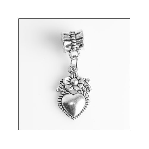 Flower and Heart Silver Charm