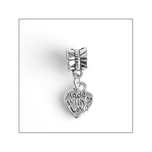 Made with Love, 10mm Silver Heart Charm