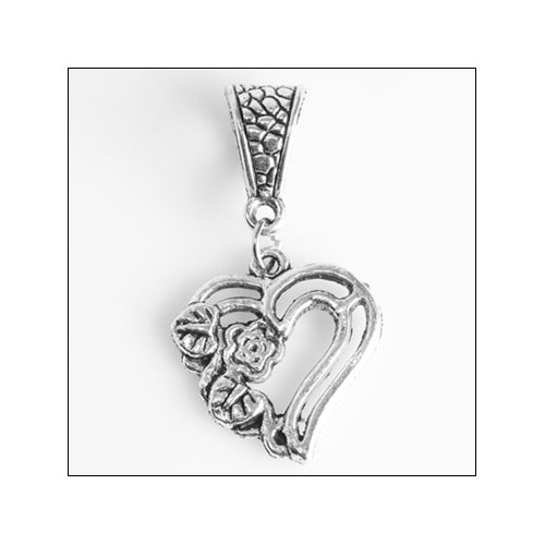 Heart with Flower & Leaves Silver Charm