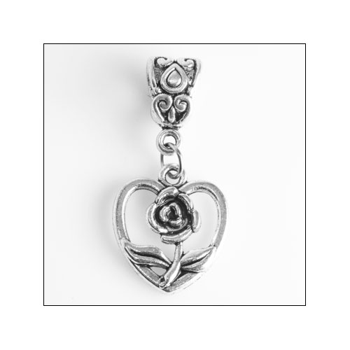 Heart with Rose inside Silver Charm