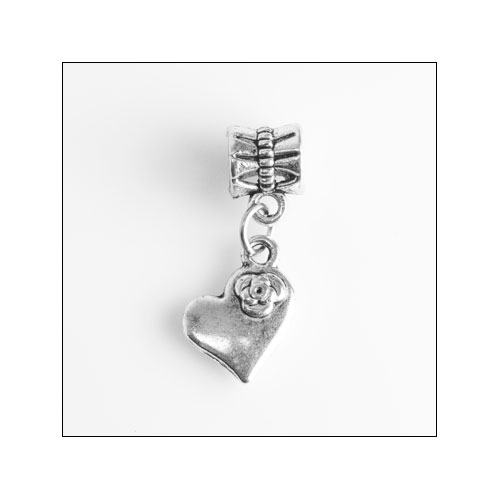Solid Heart with Rose Silver Charm