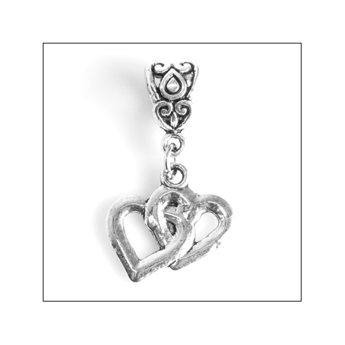 Intertwined Hearts Silver Charm
