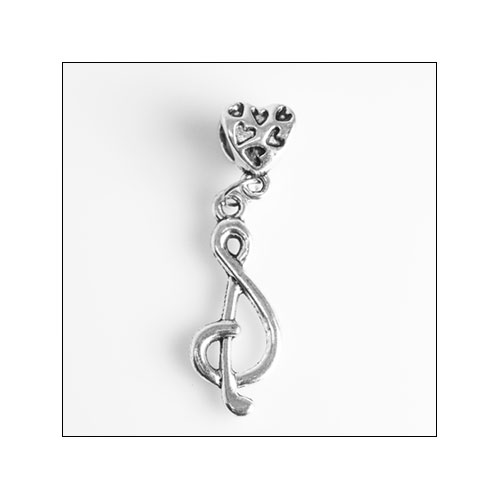 Treble Clef with Heart Bail Silver Charm