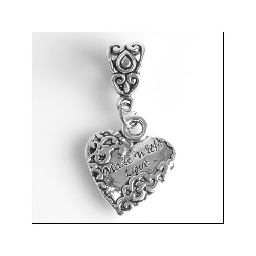 Made with Love, 18mm Silver Heart Charm