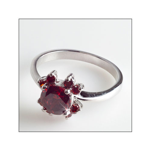 Red Garnet Silver Ring, Size 6.5