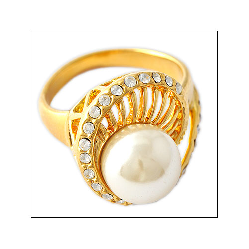 White Pearl and Cubic Zirconia Cocktail Ring, Size 7.5