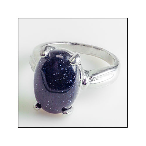 Purple-Blue Goldstone Ring, Size 6