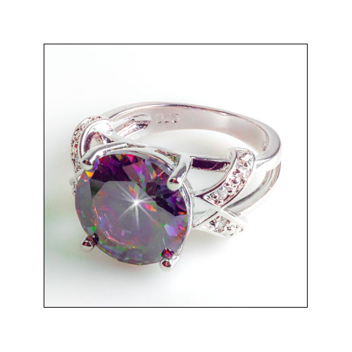 Rainbow & White Topaz Ring, Size 9