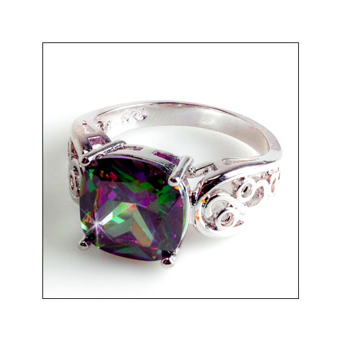 Rainbow Topaz Silver Scroll Ring, Size 8