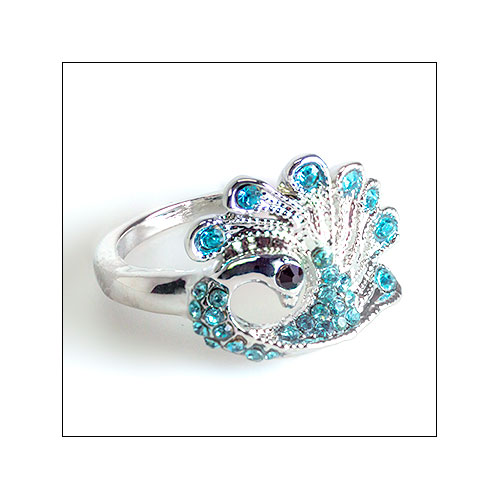 Silver & Aquamarine Peacock Ring, Size 8