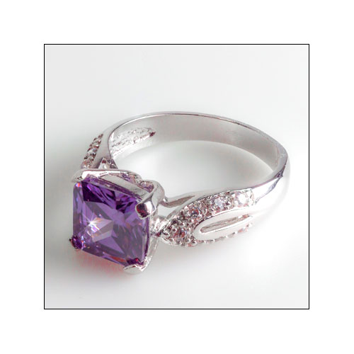 Dazzling 8mm Amethyst & Silver Ring, Size 7