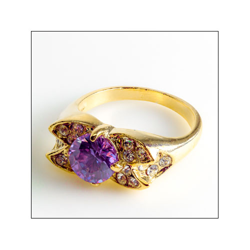 Purple Austrian Crystal Gold Ring, Size 9.5