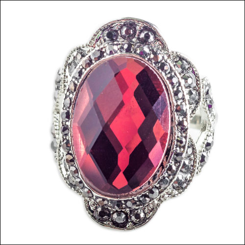 Red Garnet (Man Made) CZ Ring, Size 9