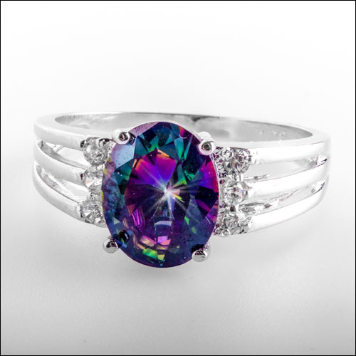 Oval Rainbow Topaz & Crystals Silver Ring, Size 7