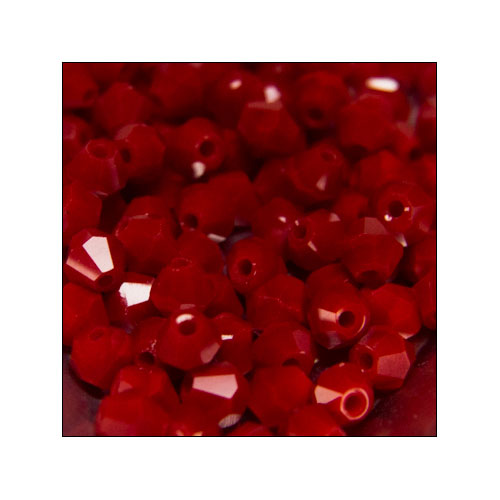 Crystal Bicone, 4mm Porcelain Very Dark Red (100)