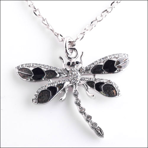 Austrian Crystal Dragonfly Necklace, Black & Silver